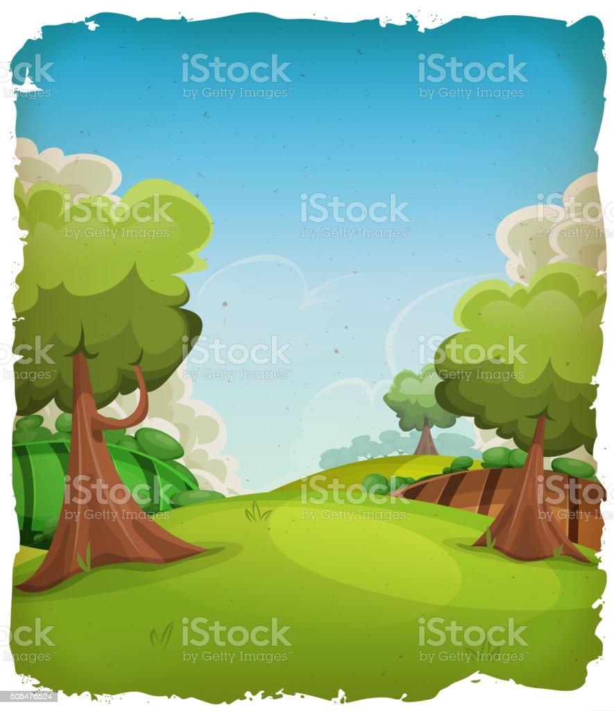 Cartoon Rural Landscape Background vector art illustration
