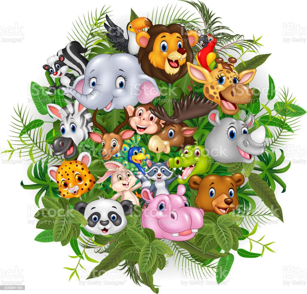 Cartoon safari animals vector art illustration