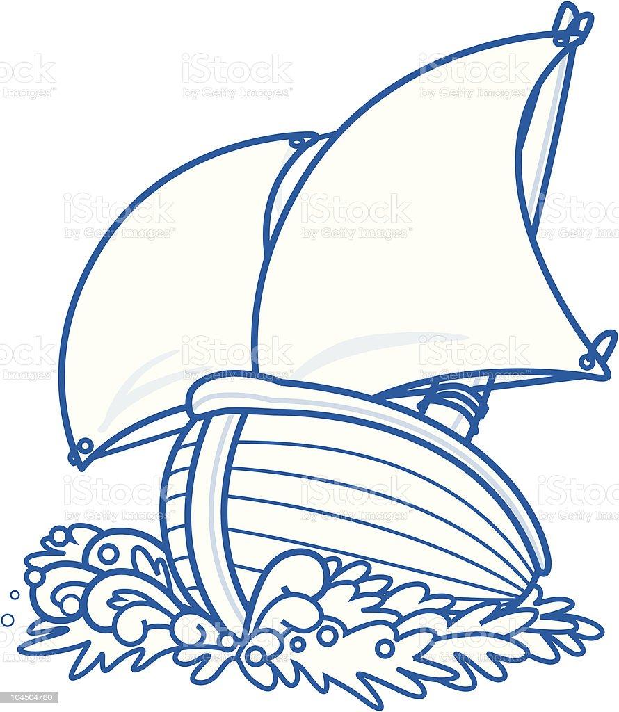 Cartoon sailboat royalty-free stock vector art