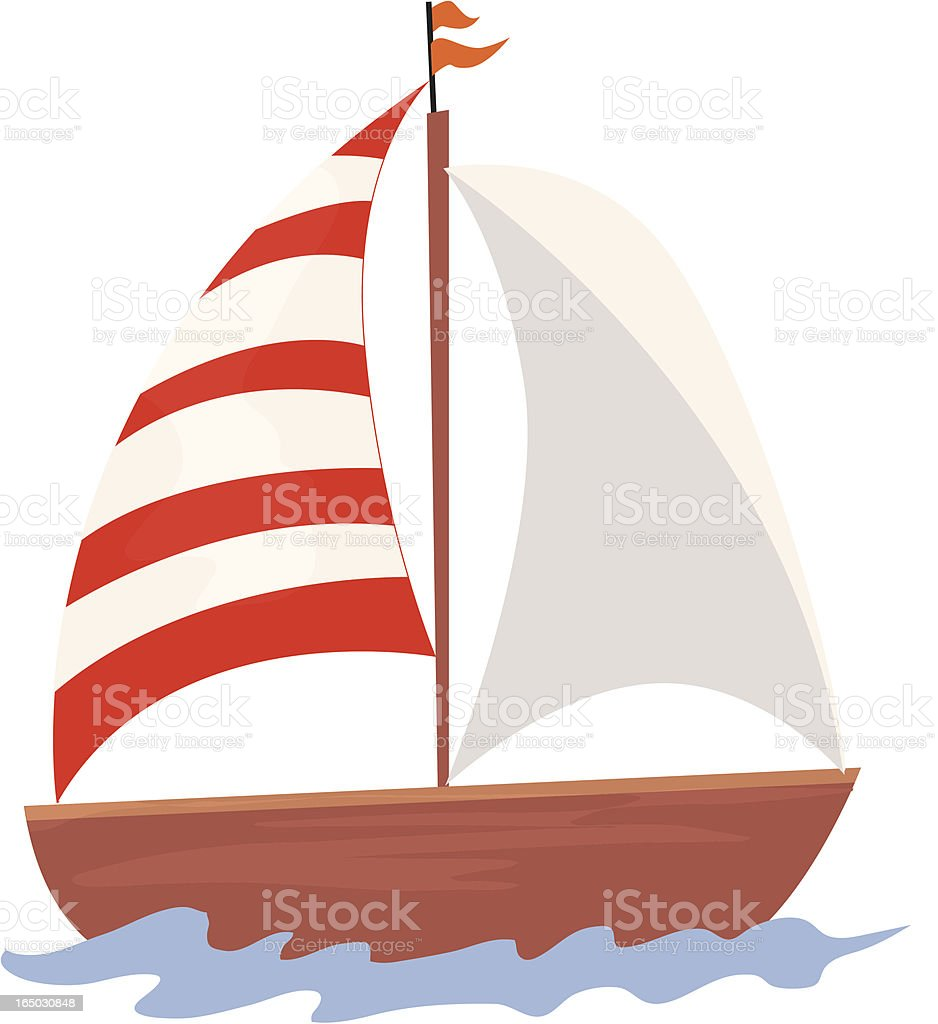 Cartoon sailboat with one white and one red and white sail vector art illustration