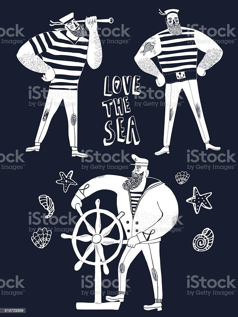 Cartoon sailors set vector art illustration