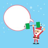 Cartoon santa claus doing weight training with white speech bubble