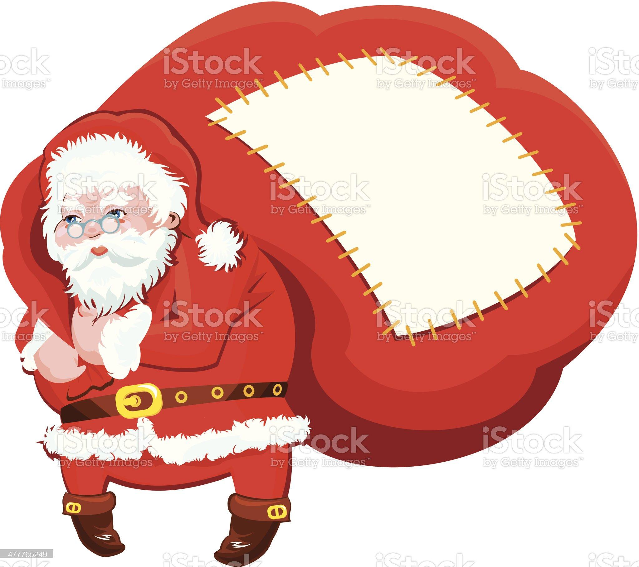 Cartoon Santa Claus with huge sack full of gifts royalty-free stock vector art
