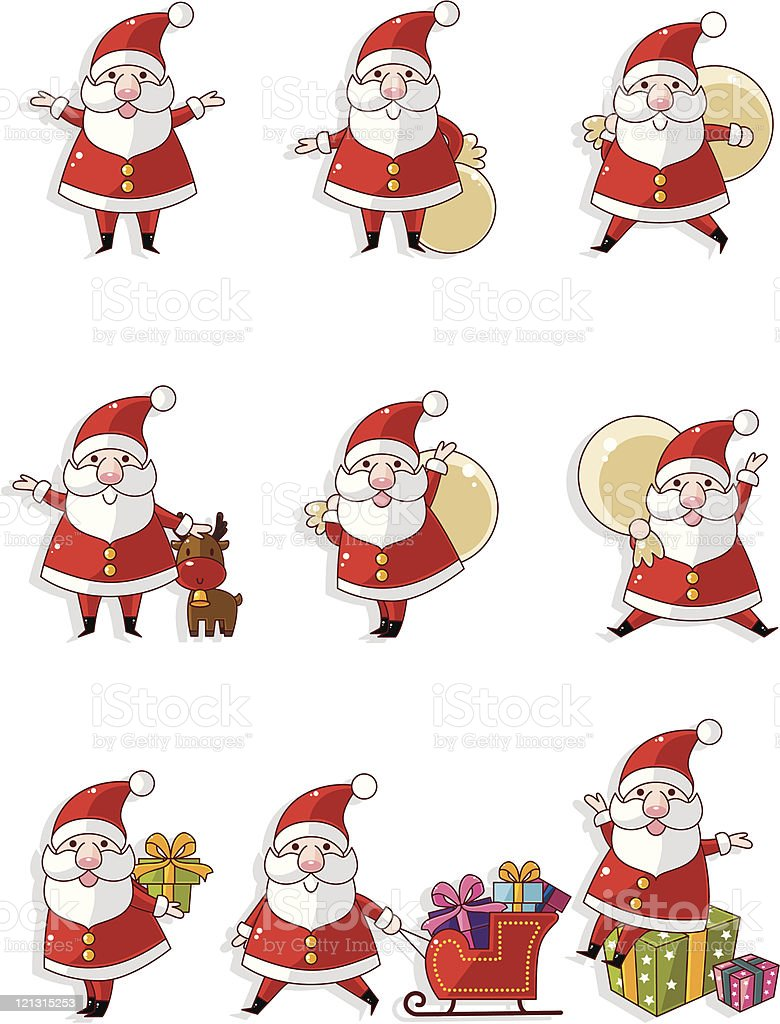 cartoon Santa Claus Xmas icon set royalty-free stock vector art