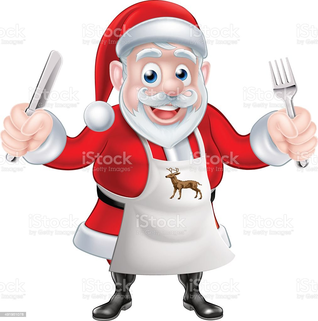 Cartoon Santa Cook vector art illustration
