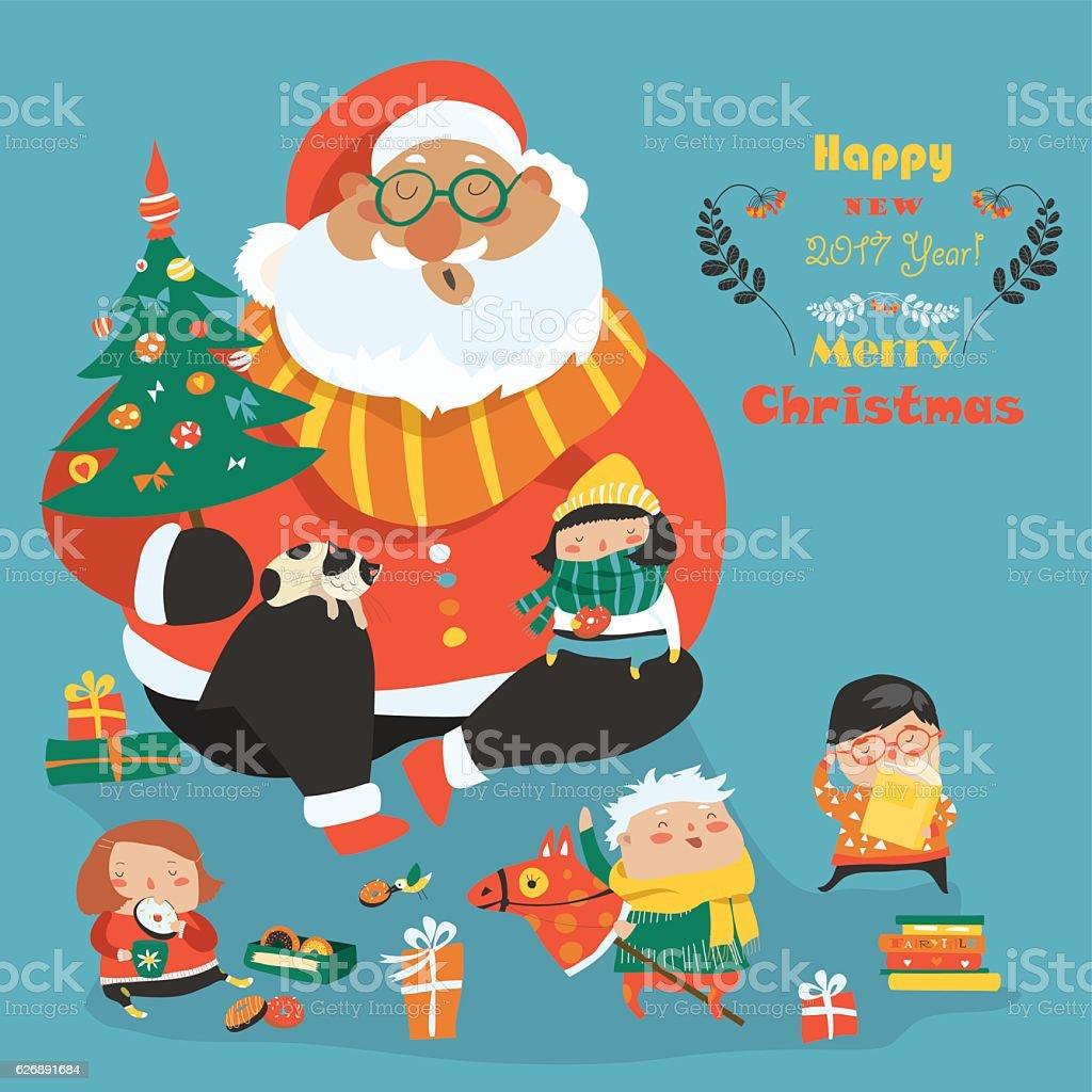 Cartoon Santa with kids vector art illustration