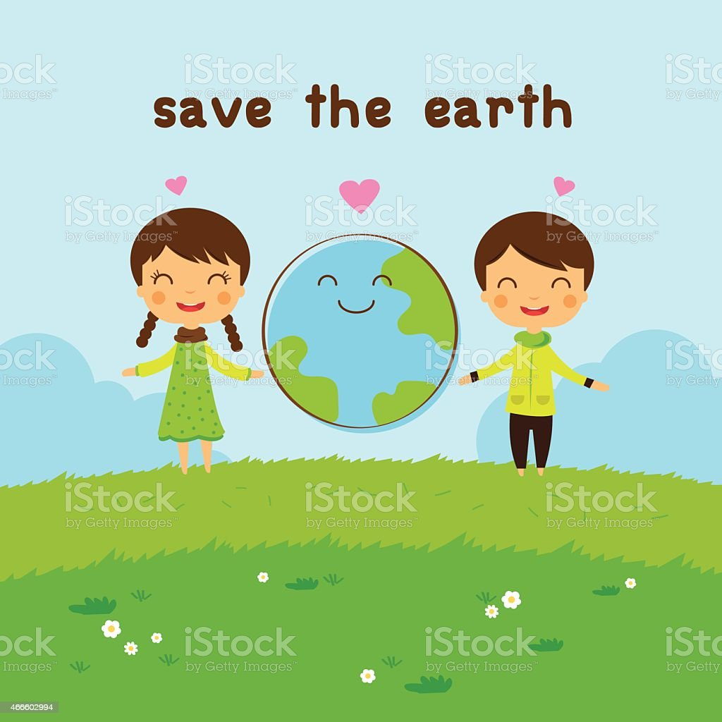 cartoon save the earth, save the world royalty-free stock vector art