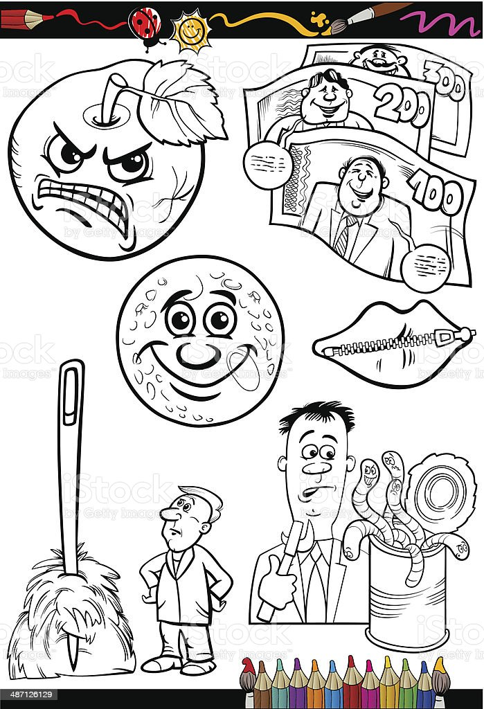 cartoon sayings set for coloring book vector art illustration