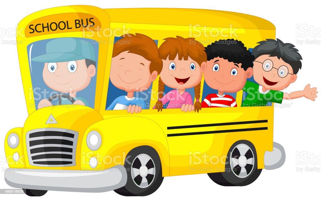 Cartoon school bus with happy children vector art illustration