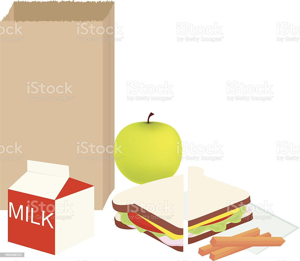 Cartoon school lunch outside of a brown paper bag vector art illustration