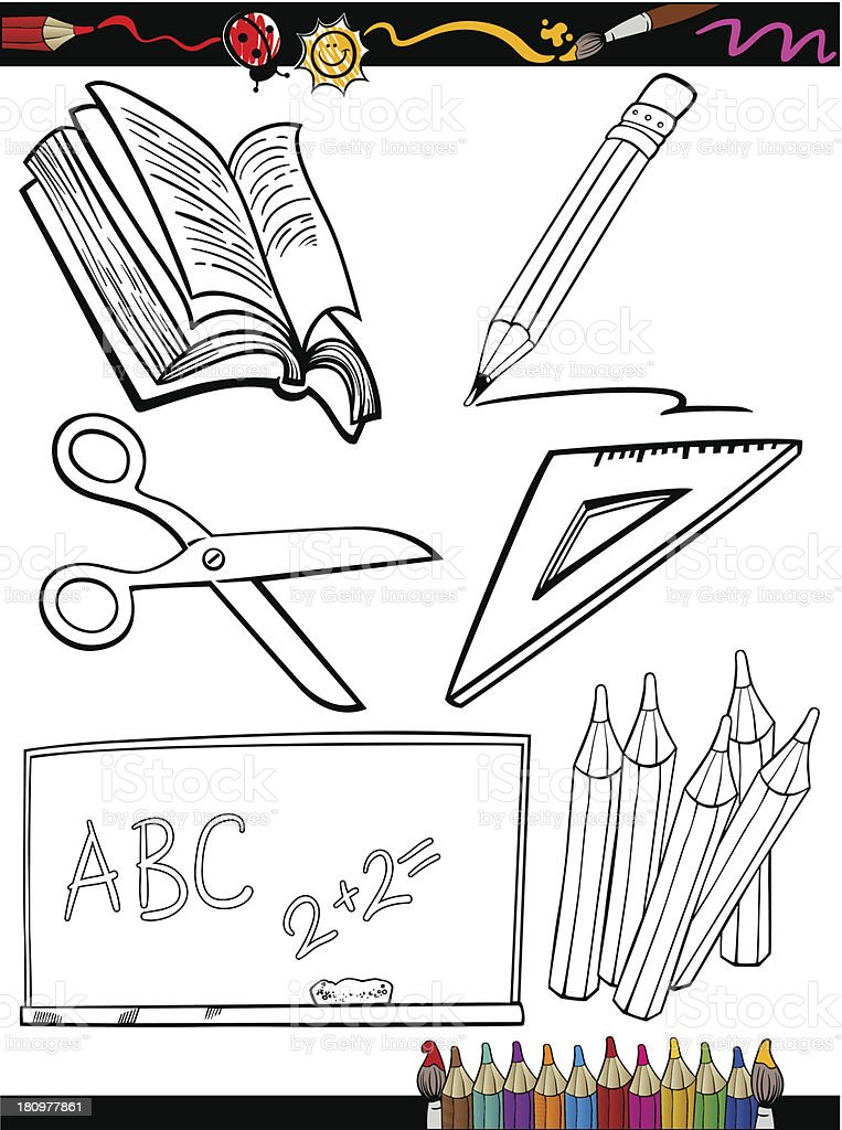 cartoon school objects coloring page royalty-free stock vector art
