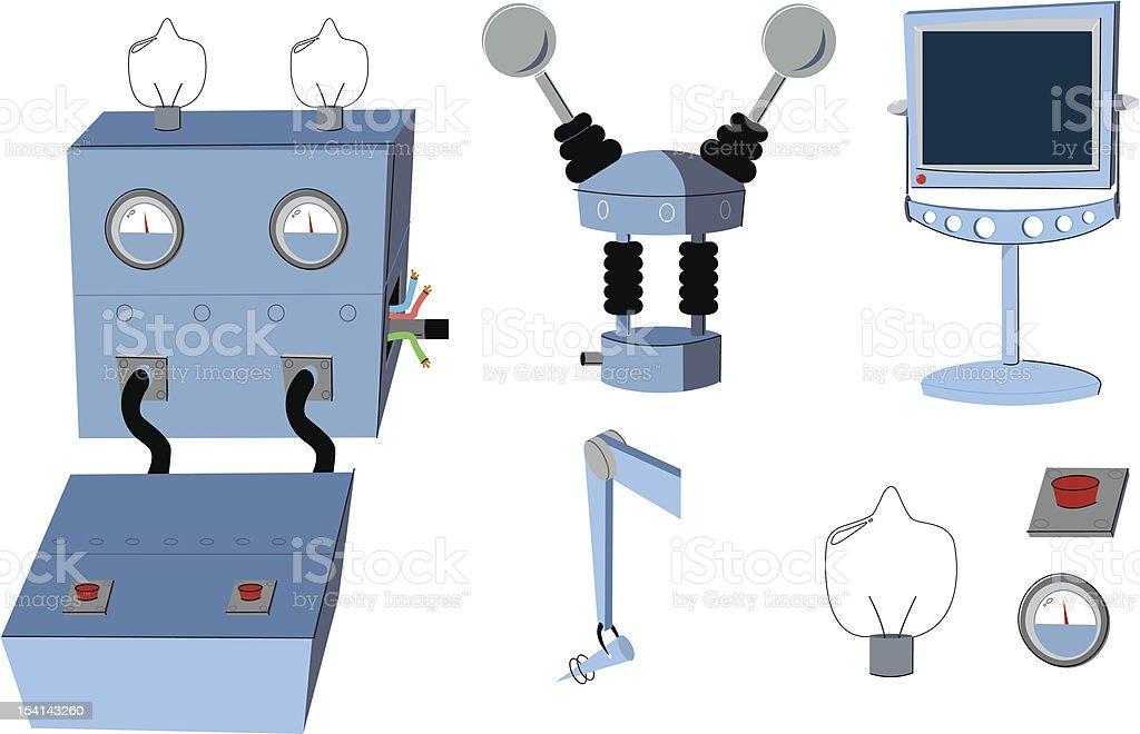 Cartoon Science Room Accessories royalty-free stock vector art