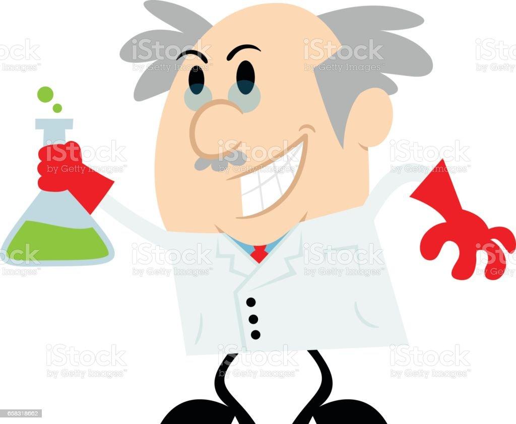 Cartoon Scientist Holding a Beaker Vector Illustration vector art illustration