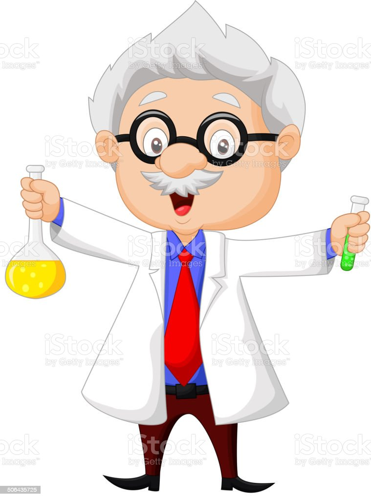 Cartoon scientist holding chemical flask royalty-free stock vector art