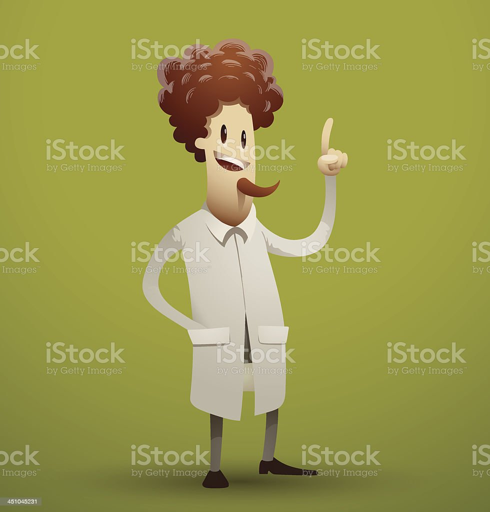 Cartoon scientist with a beard royalty-free stock vector art