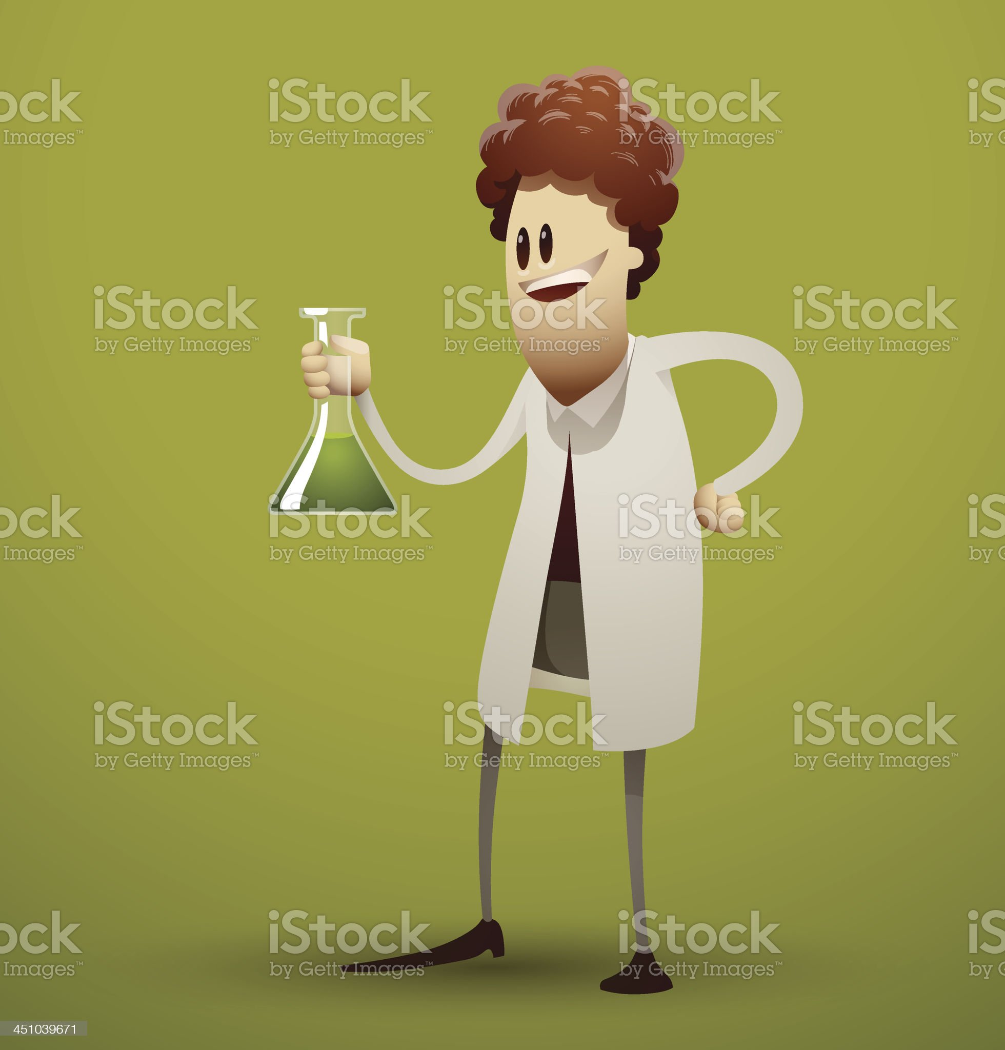 Cartoon scientist with a flask royalty-free stock vector art