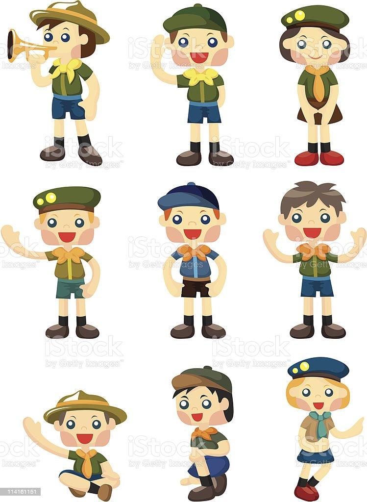 cartoon scout icon vector art illustration