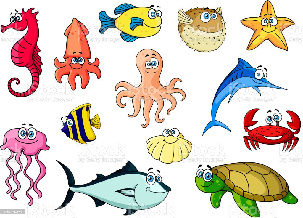 Cartoon colorful tropical fishes, sea turtle and shell, crab and...