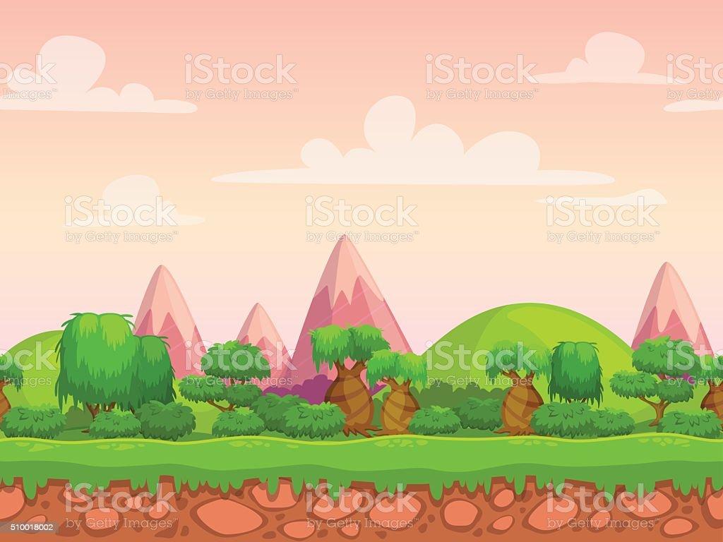 Cartoon seamless nature landscape vector art illustration