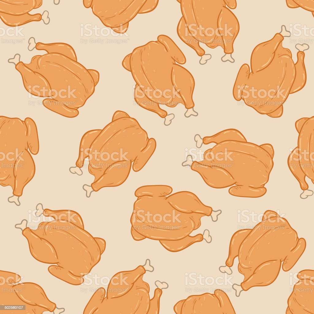 Cartoon seamless pattern with grilled chicken royalty-free stock vector art