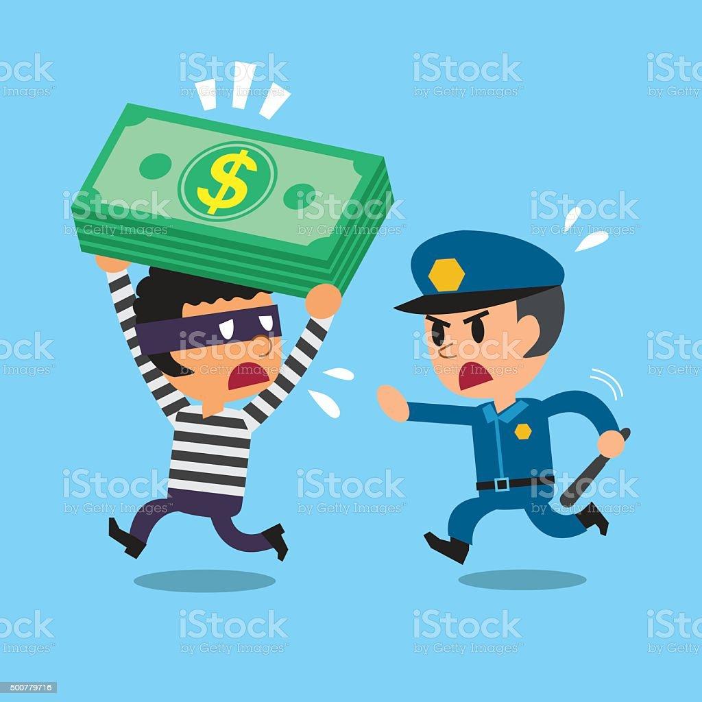 Cartoon security guard policeman and a thief vector art illustration