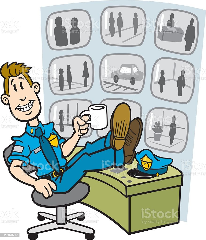 Cartoon Security Guy With Monitors vector art illustration