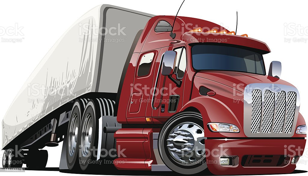Cartoon semi truck. one-click repaint vector art illustration