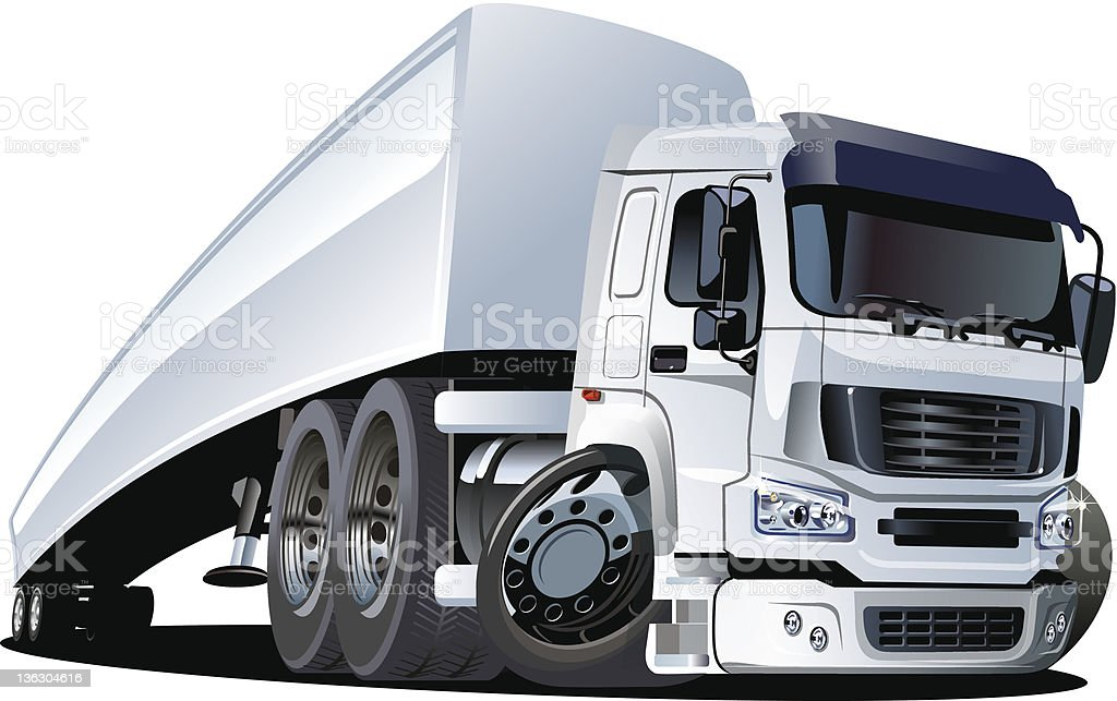 Cartoon semi truck royalty-free stock vector art