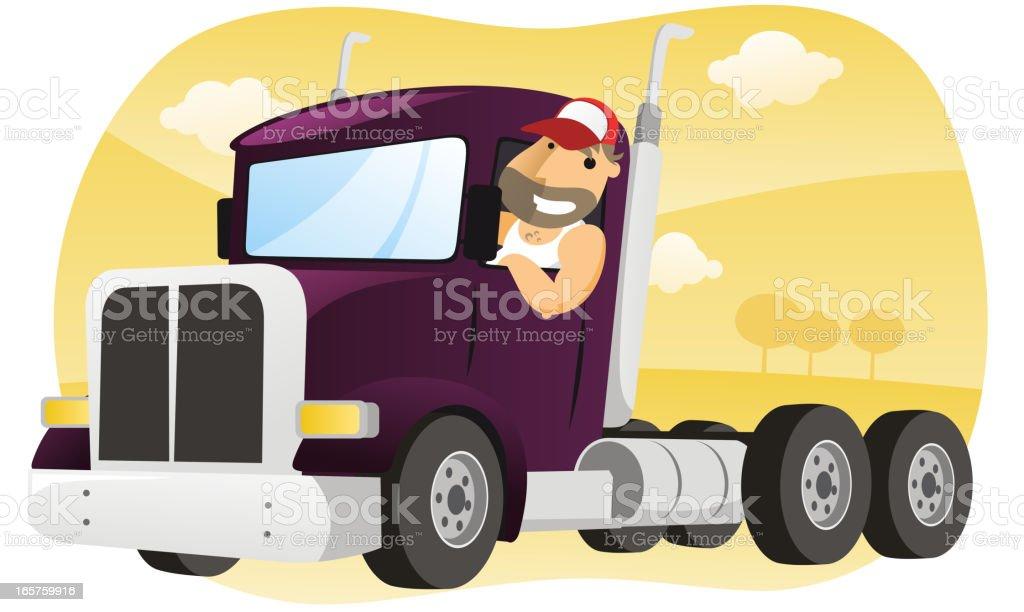 Cartoon Semi-Truck vector art illustration