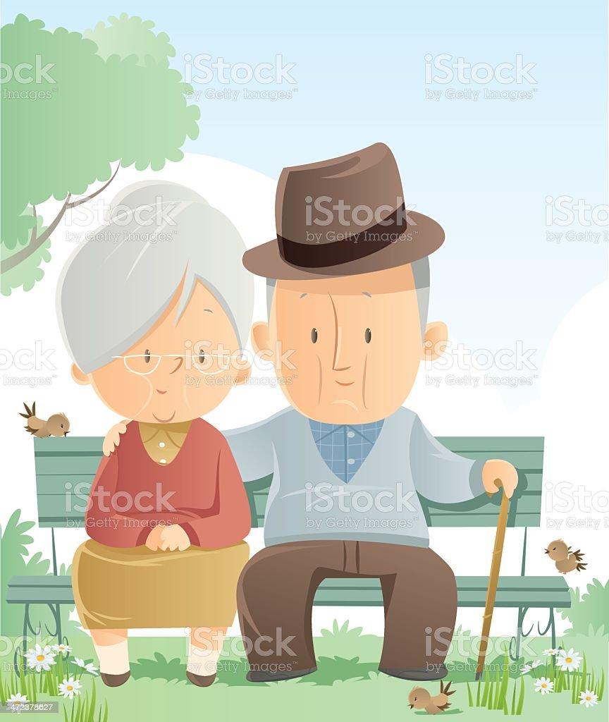 Cartoon senior couple sitting outdoors on a bench vector art illustration