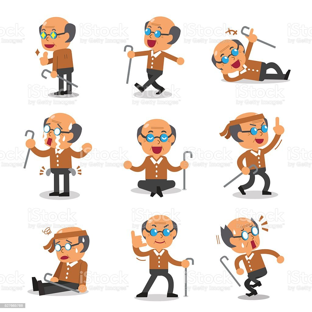 Cartoon senior man character poses vector art illustration