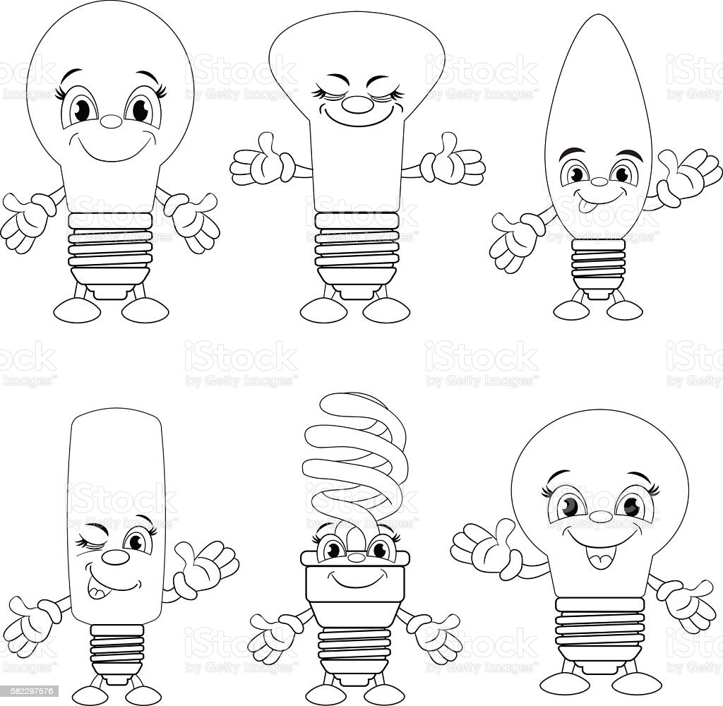 Cartoon set of different funny lamp. Coloring book vector art illustration