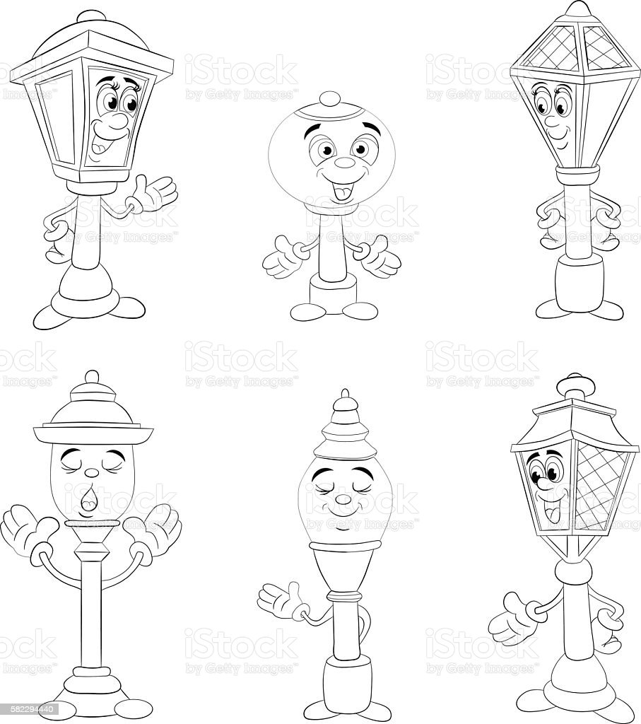 Cartoon set of different smiling lamp and lantern. Coloring book vector art illustration