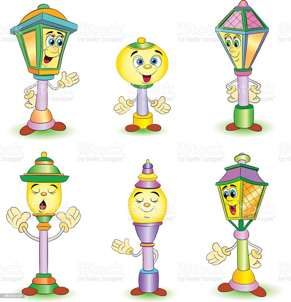 Cartoon set of different smiling street lamp and lantern vector art illustration