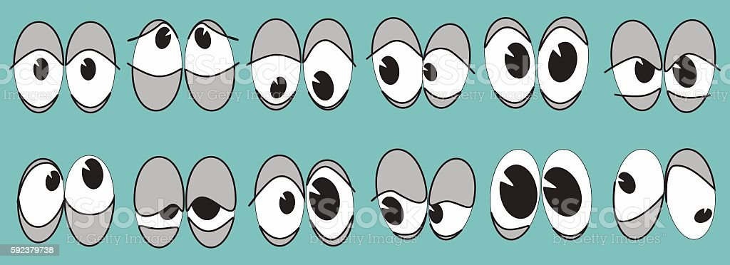 cartoon set of eyes with different characters vector art illustration