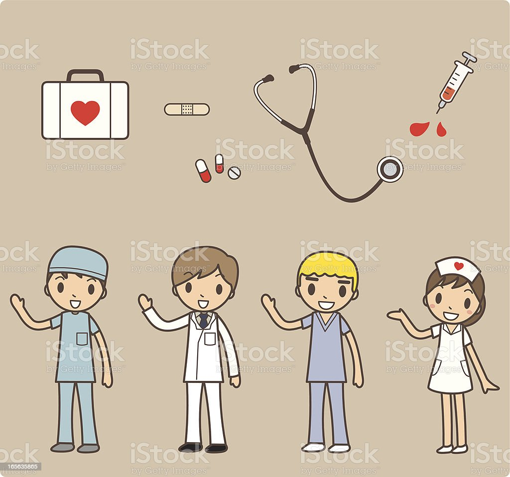 Cartoon Set of Hospital Staff with Medical Instruments vector art illustration