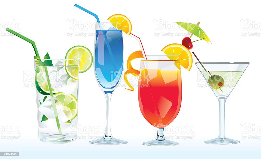 Cartoon set of various colorful cocktails vector art illustration