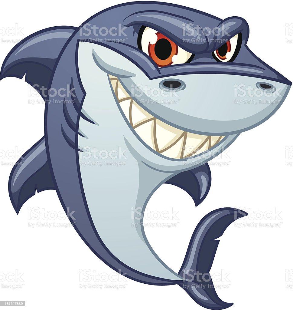 Cartoon shark vector art illustration