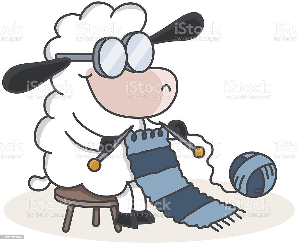 cartoon sheep knitting a scarf vector art illustration