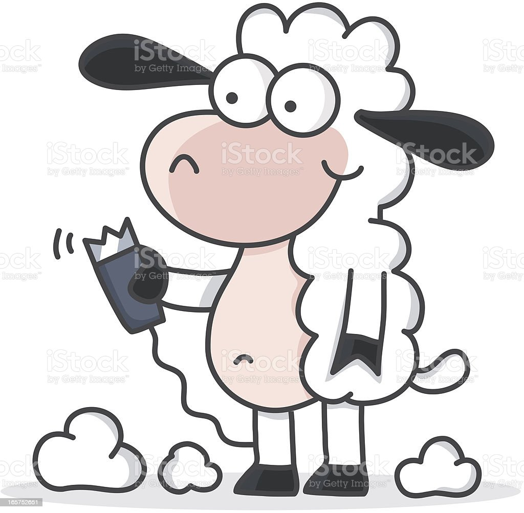 cartoon sheep shearing / wool production vector art illustration