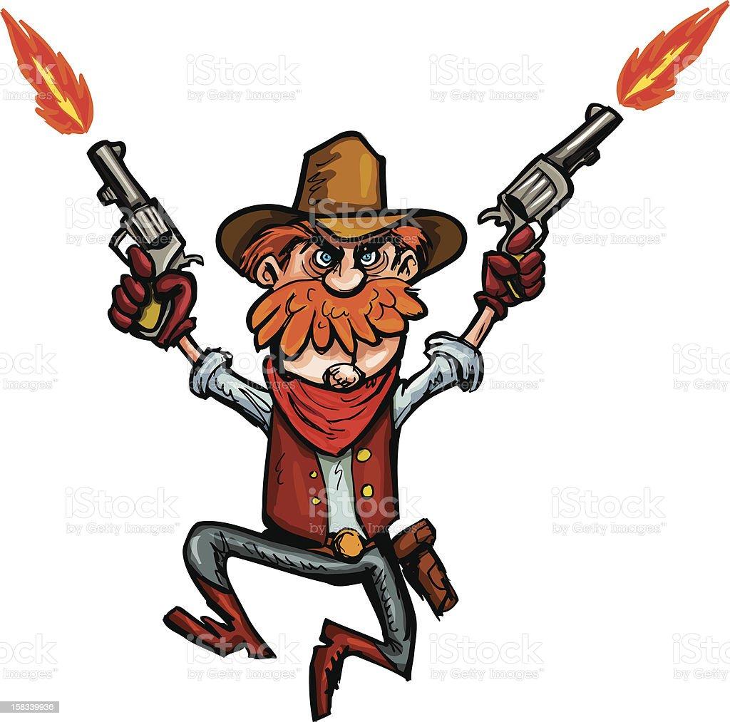 Cartoon shooting cowboy vector art illustration