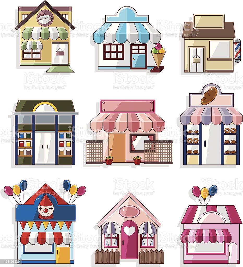 Cartoon Shop icons royalty-free stock vector art