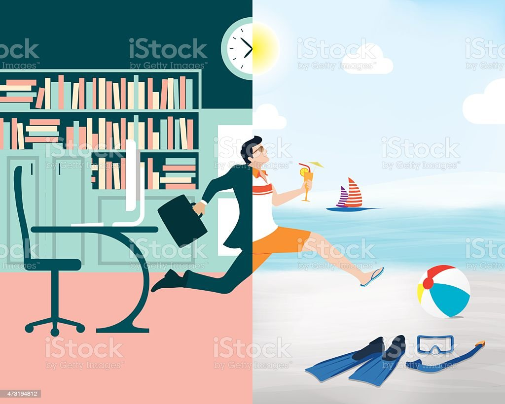 Cartoon showing a business man going from office to beach vector art illustration