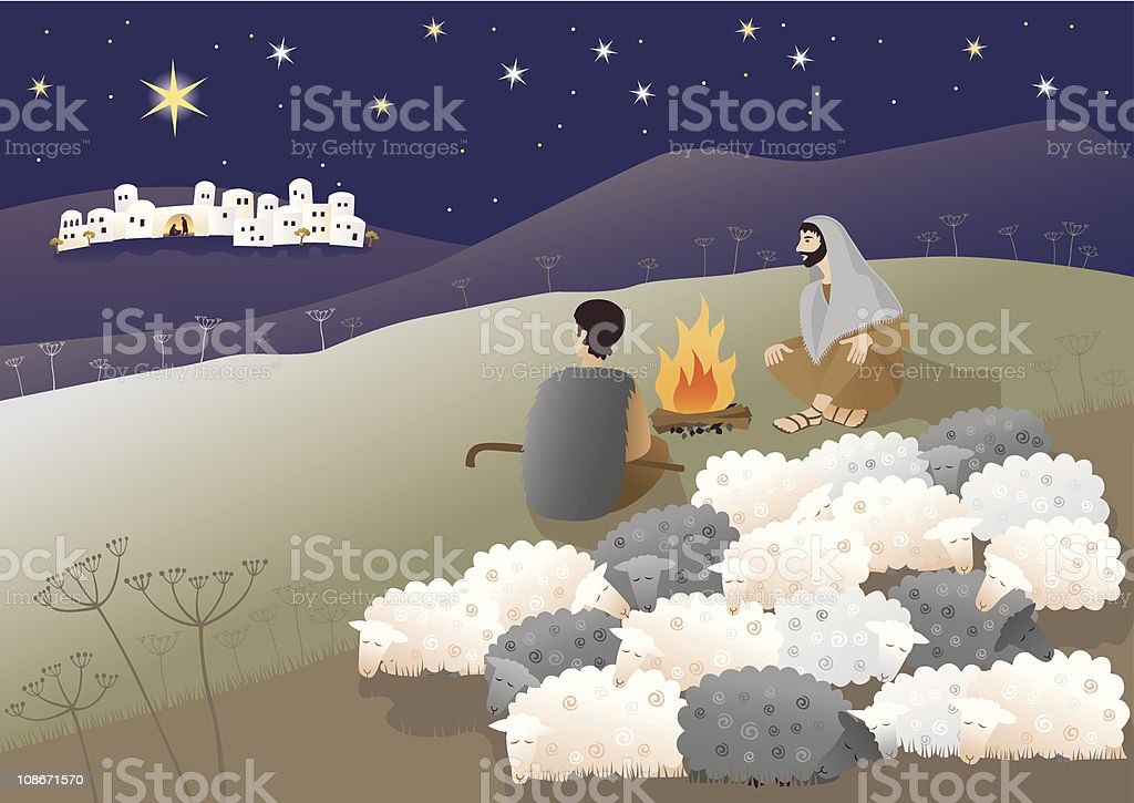 Cartoon showing the birth of Messiah royalty-free stock vector art