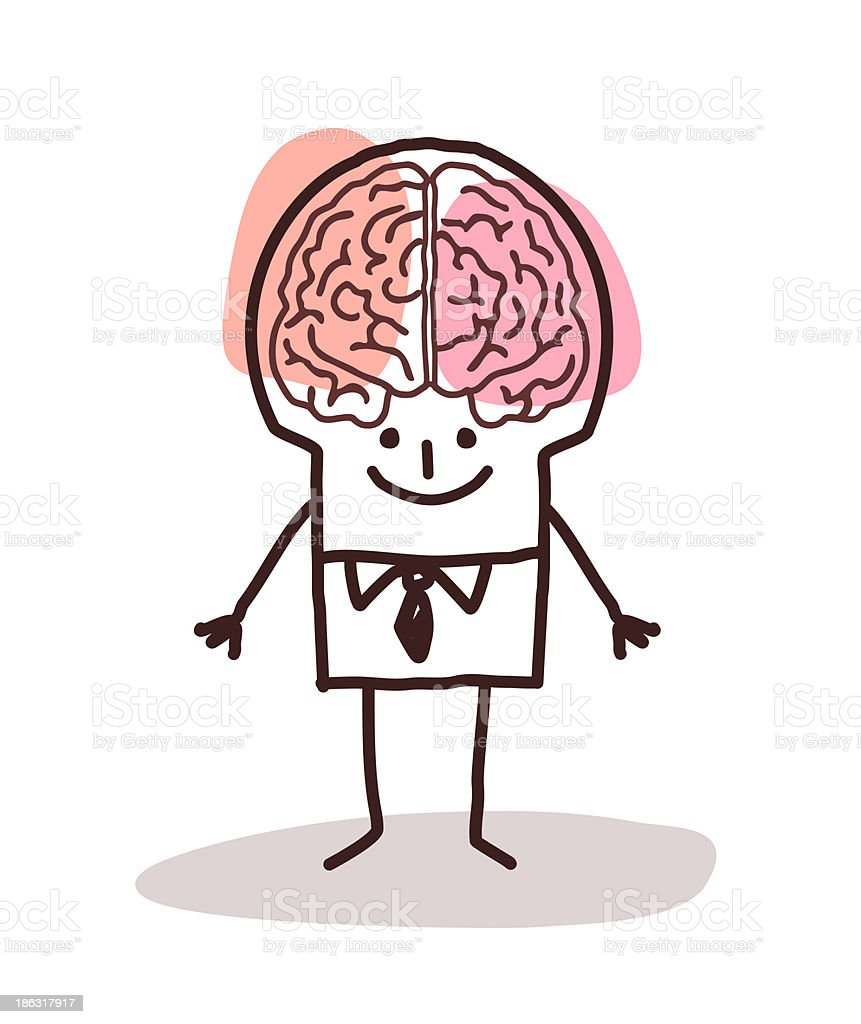 A cartoon showing the left and right brains of a man vector art illustration