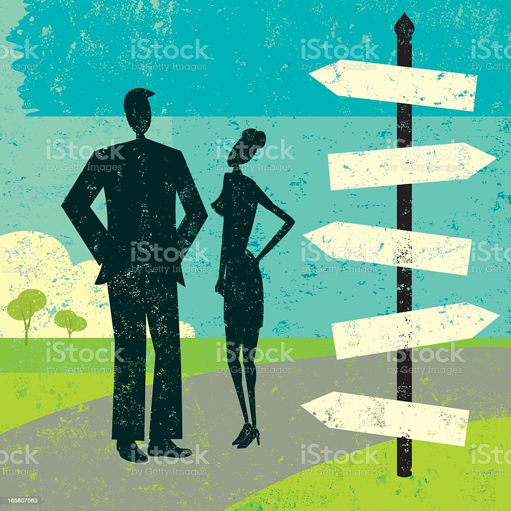 Cartoon silhouette of couple standing next to blank signpost royalty-free stock vector art