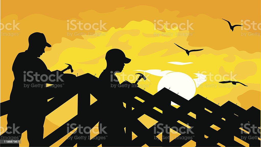 Cartoon silhouette of two men building roof over sunny sky royalty-free stock vector art