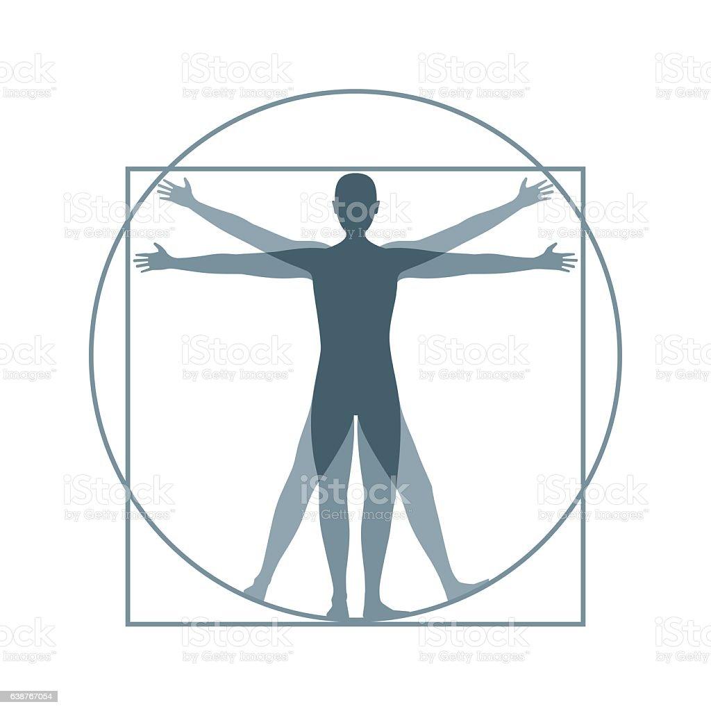 Cartoon Silhouette Vitruvian Man. Vector vector art illustration