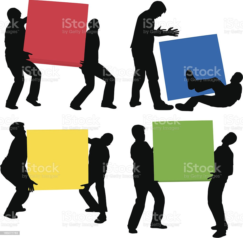 Cartoon silhouettes of men moving multicolor boxes royalty-free stock vector art
