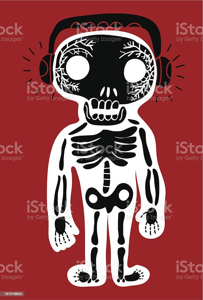 cartoon skeleton with headphones royalty-free stock vector art